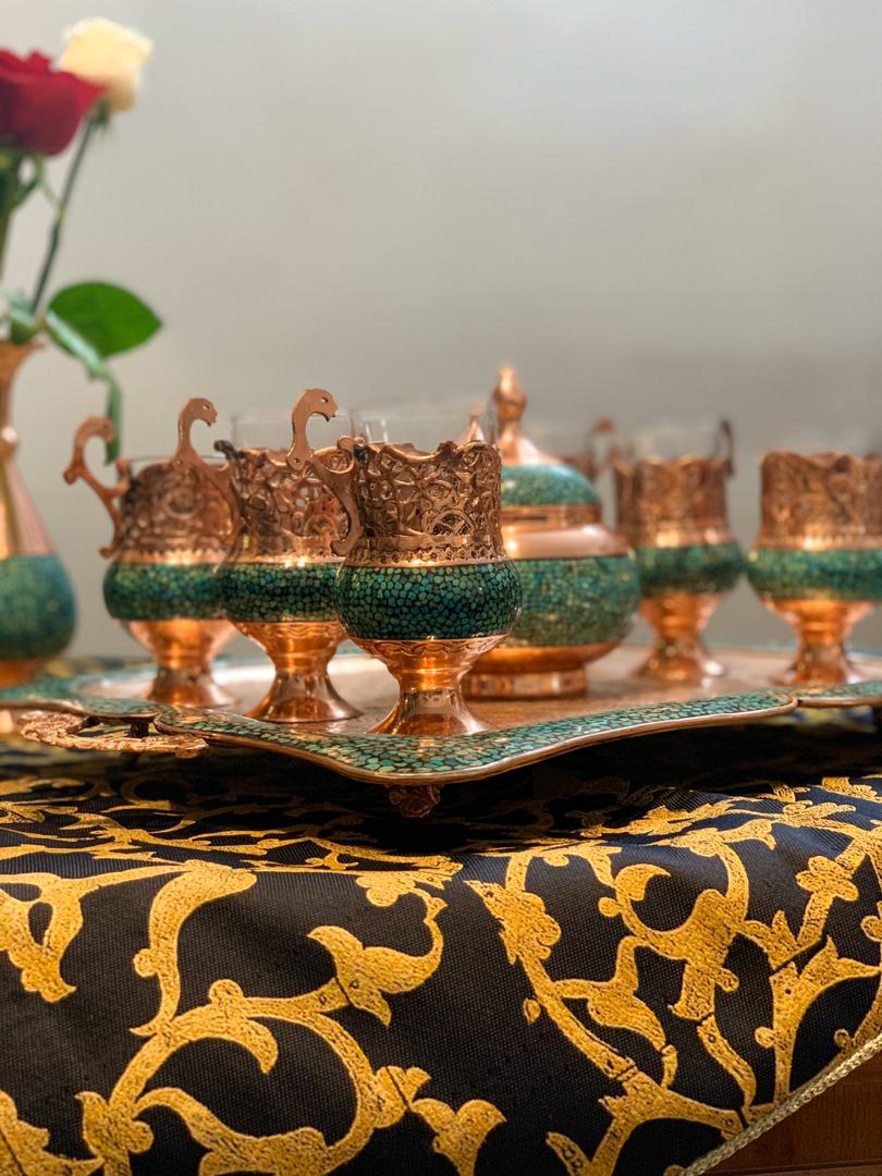 سرویس چای خوری به همراه قندان فیروزه کوب