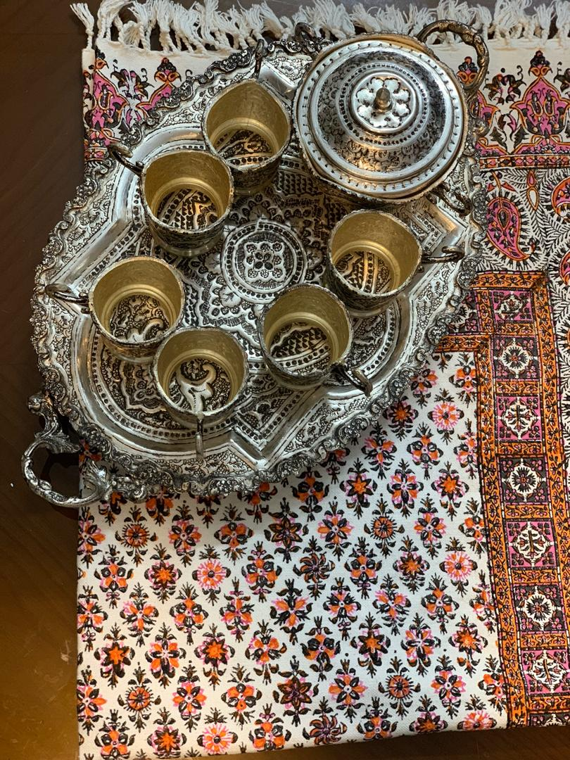 سرویس چای خوری نقره نما به همراه سینی