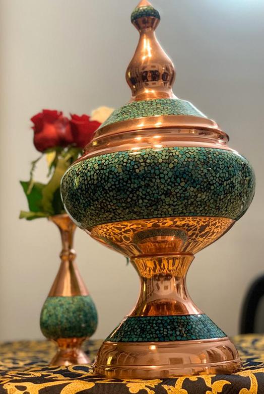 آجیل خوری و گلدان فیروزه کوبی فاخر و اصیل