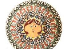 بشقاب میناکاری روی سفال خورشید خانم